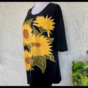 VINTAGE August Max Beaded Sunflowers T-Shirt/Tunic